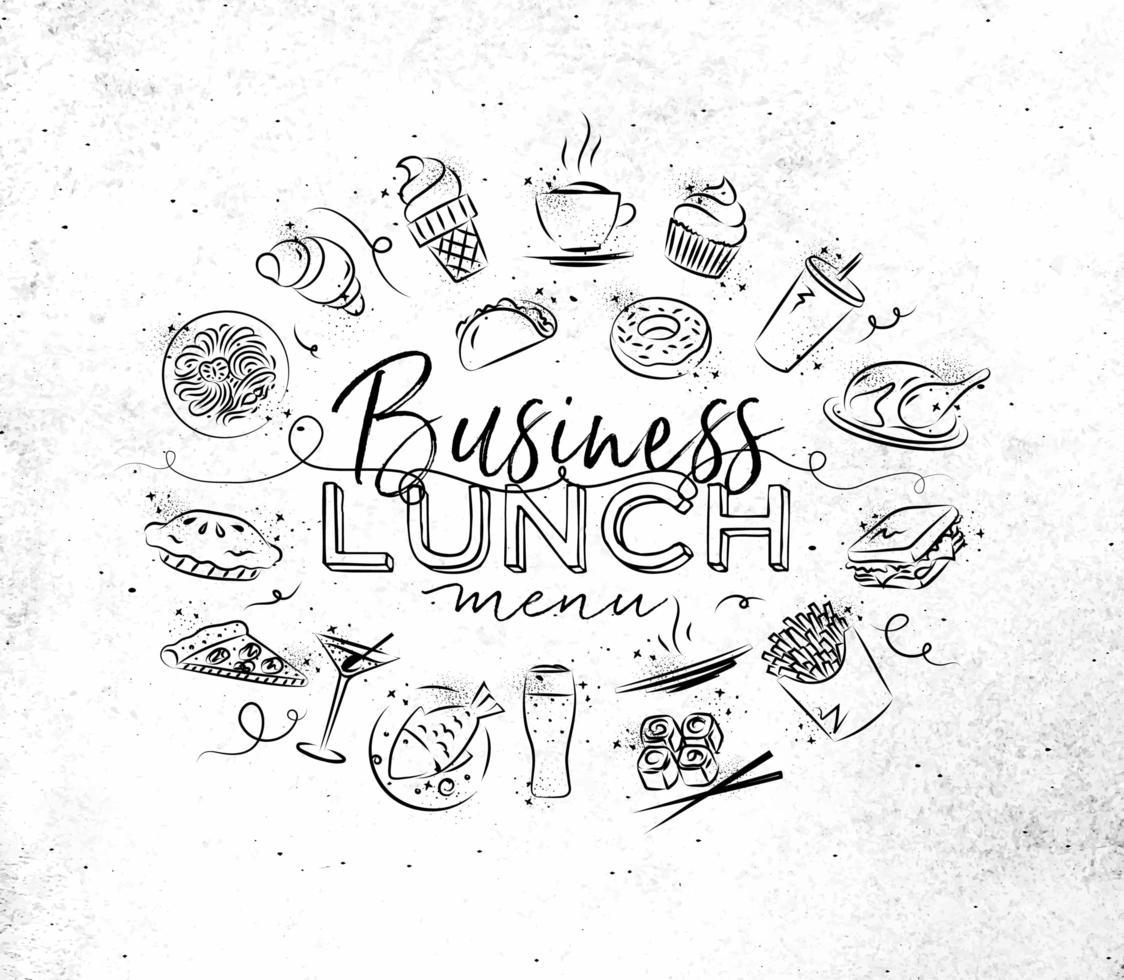 déjeuner d'affaires signe dans un style grunge dessiné à la main vecteur