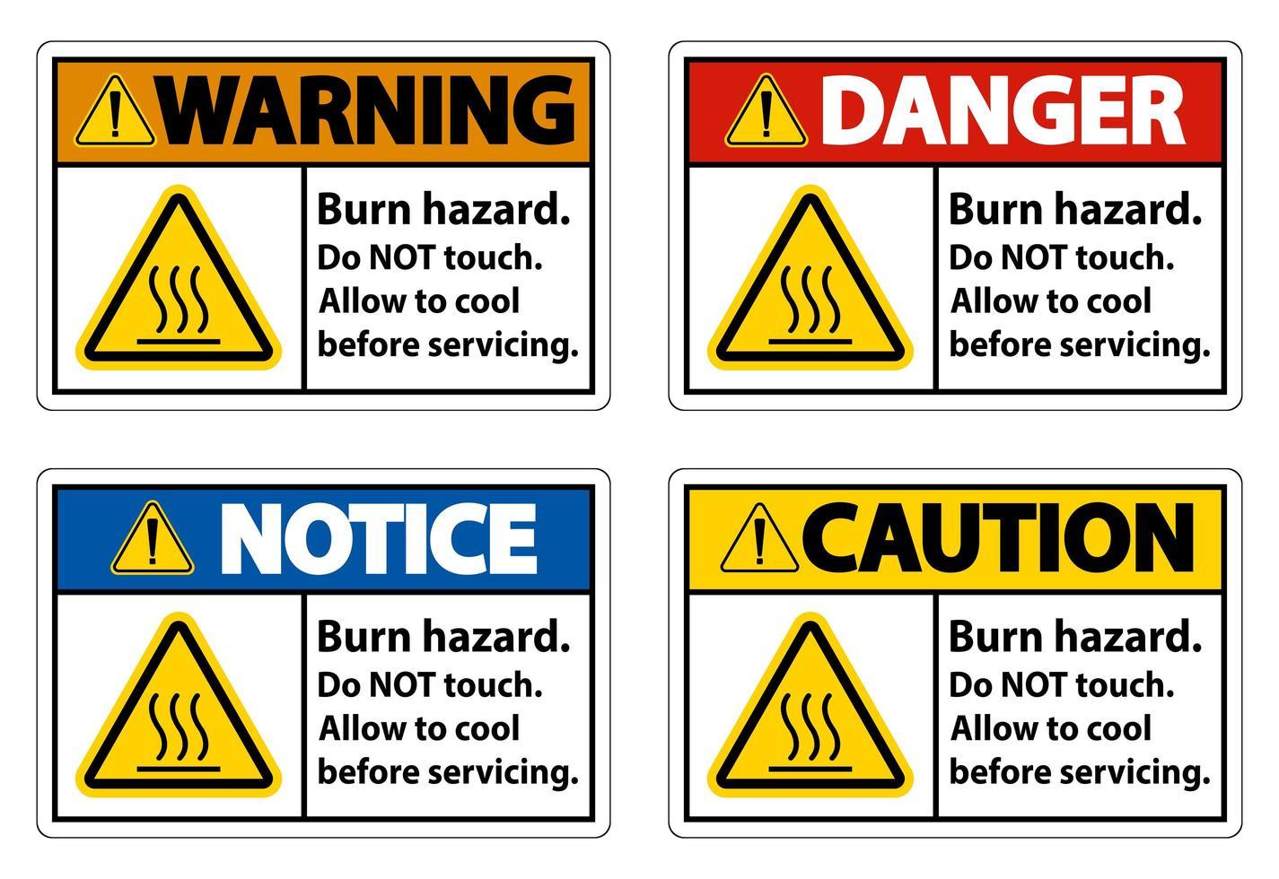Ensemble de panneaux horizontaux de danger de brûlure vecteur