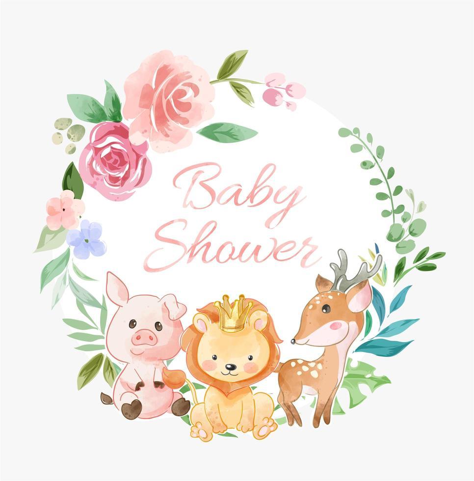 guirlande de fleurs de douche de bébé avec des amis animaux vecteur