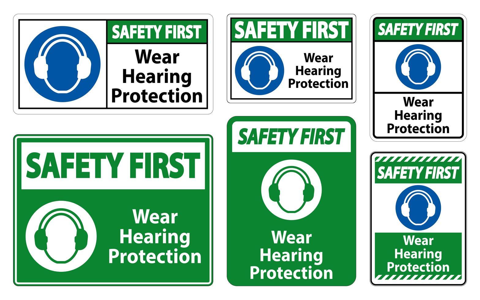 porter un ensemble de signes de protection auditive vecteur