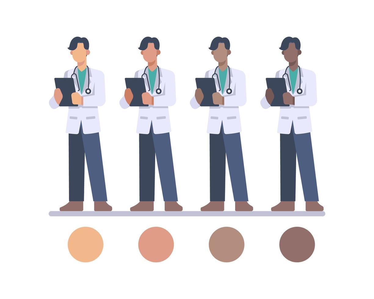 personnages de médecin masculin avec stéthoscope et presse-papiers vecteur