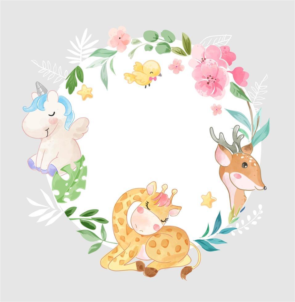 animal mignon dans le cadre de fleurs de cercle vecteur