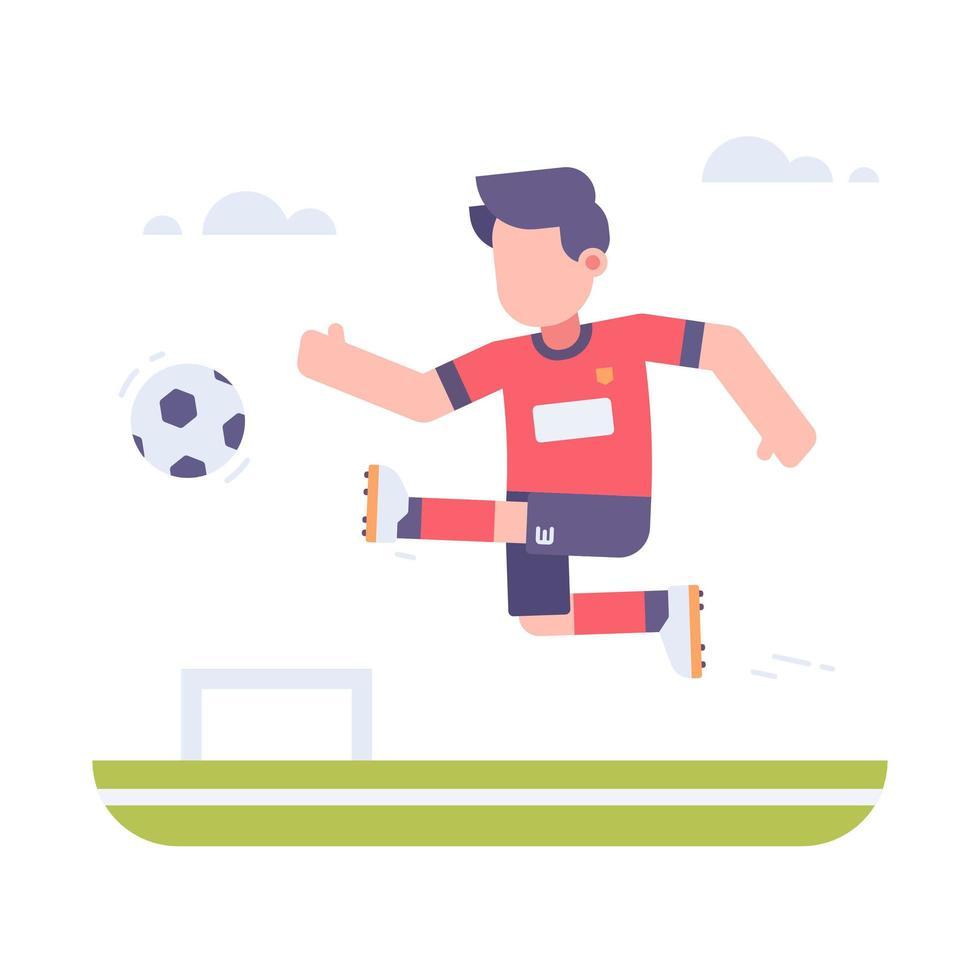 personne jouant au football sur le terrain vecteur