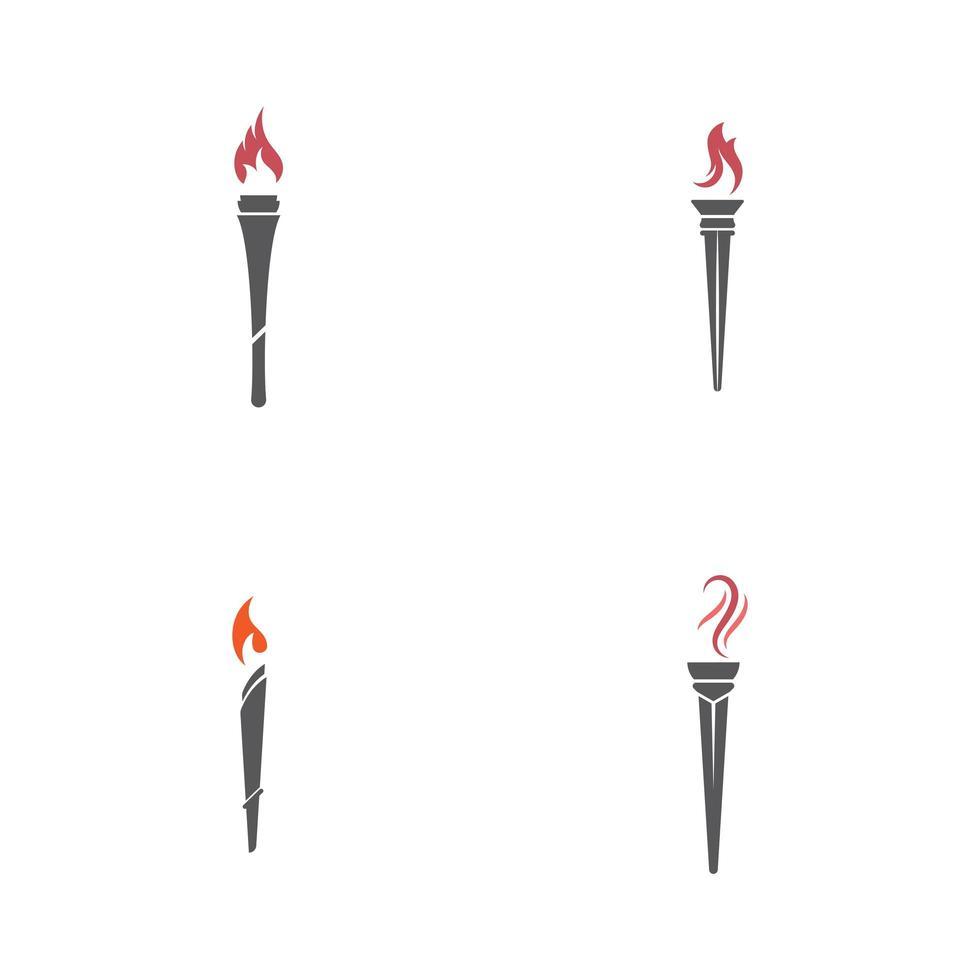 jeu d'icônes de torche vecteur