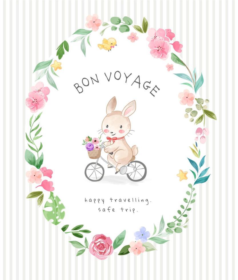 lapin bon voyage dans un cadre de cercle de fleurs vecteur