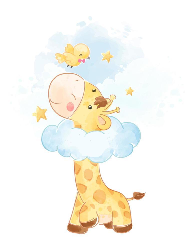 girafe mignonne avec petit oiseau vecteur
