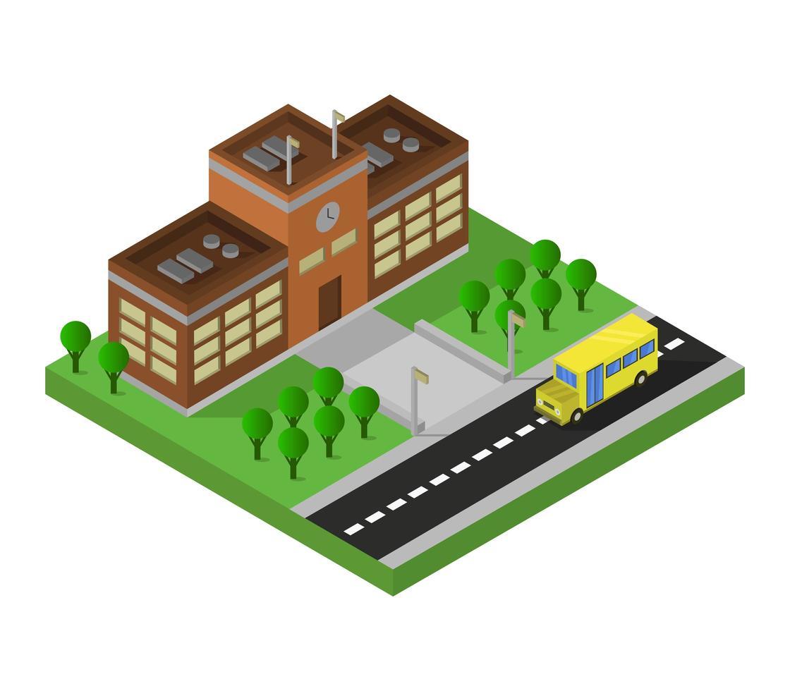 école isométrique et bus sur blanc vecteur