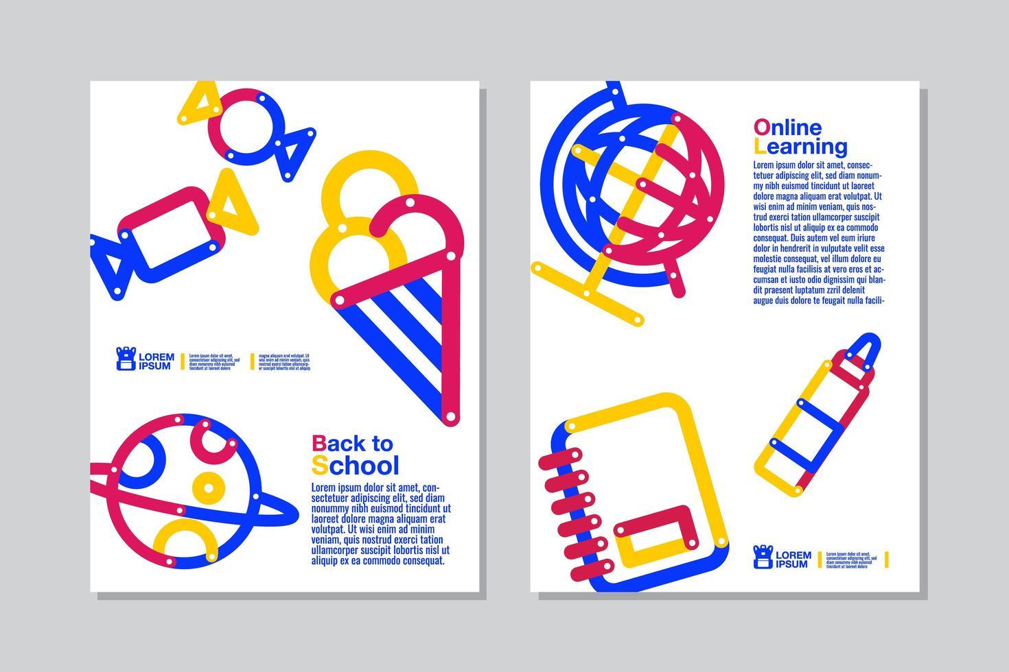 retour à l'école, ensemble de flyer blanc d'apprentissage en ligne vecteur