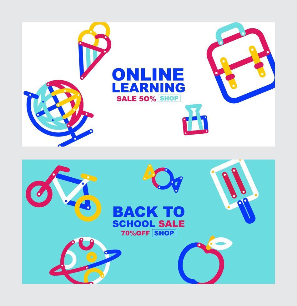 retour à l'école, ensemble de bannière de vente d'apprentissage en ligne vecteur