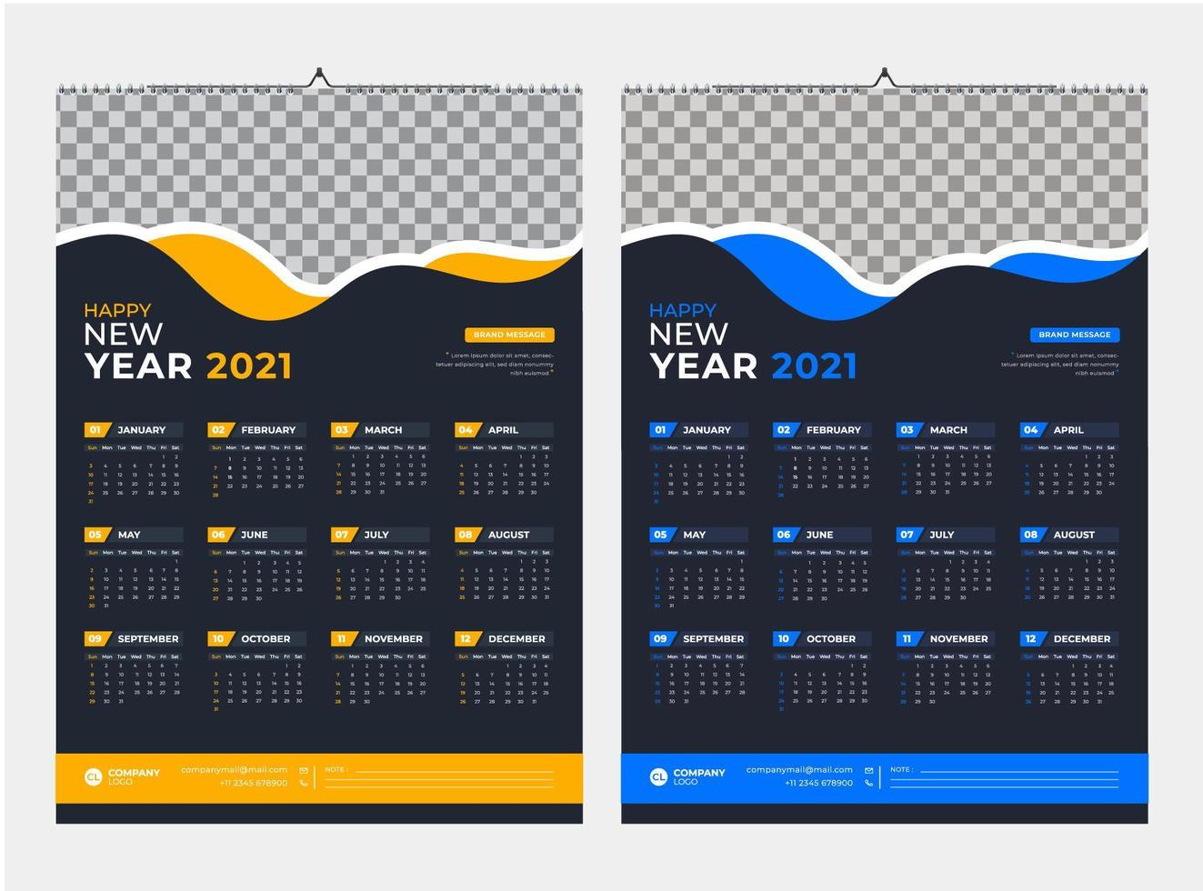 modèle de calendrier mural d'une page jaune et bleu 2021 vecteur