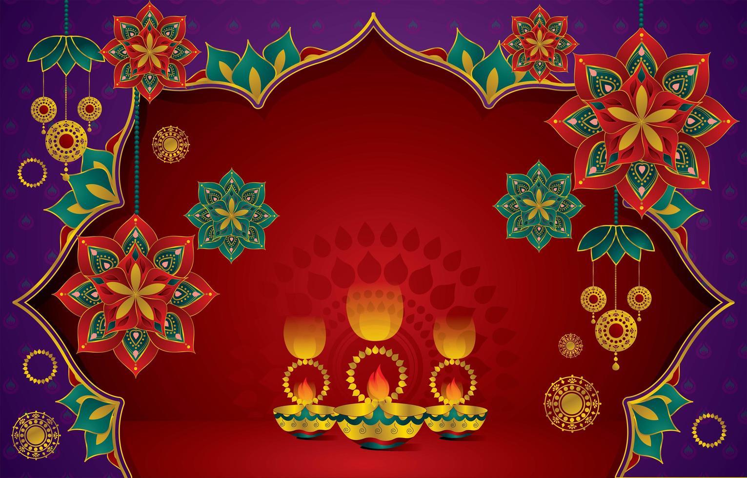 fond pour la célébration du festival de diwali en inde vecteur