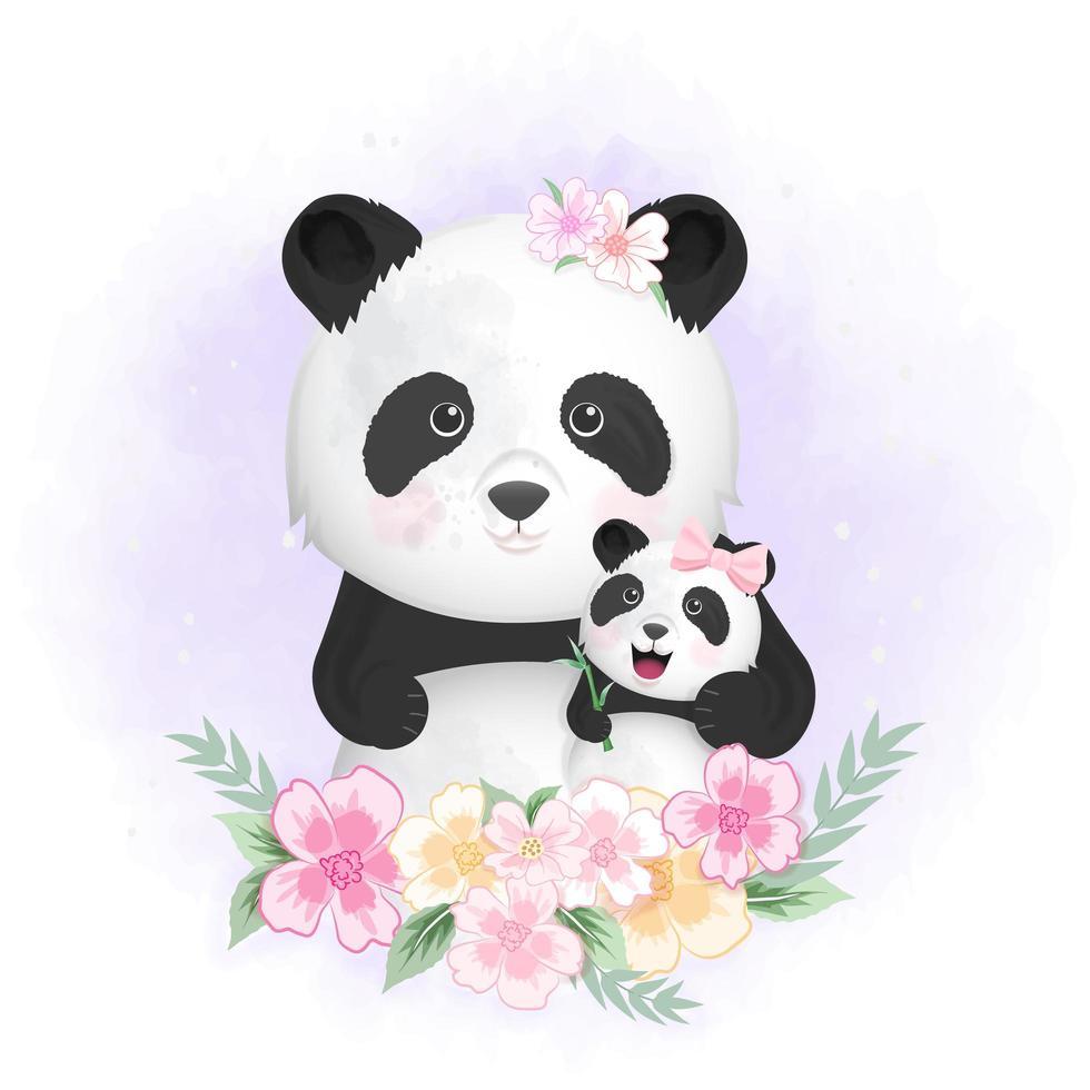 bébé panda et maman en fleurs vecteur