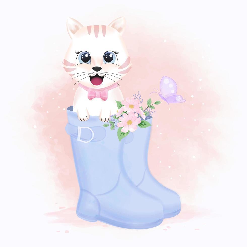 chat et fleurs en botte dans un style aquarelle vecteur