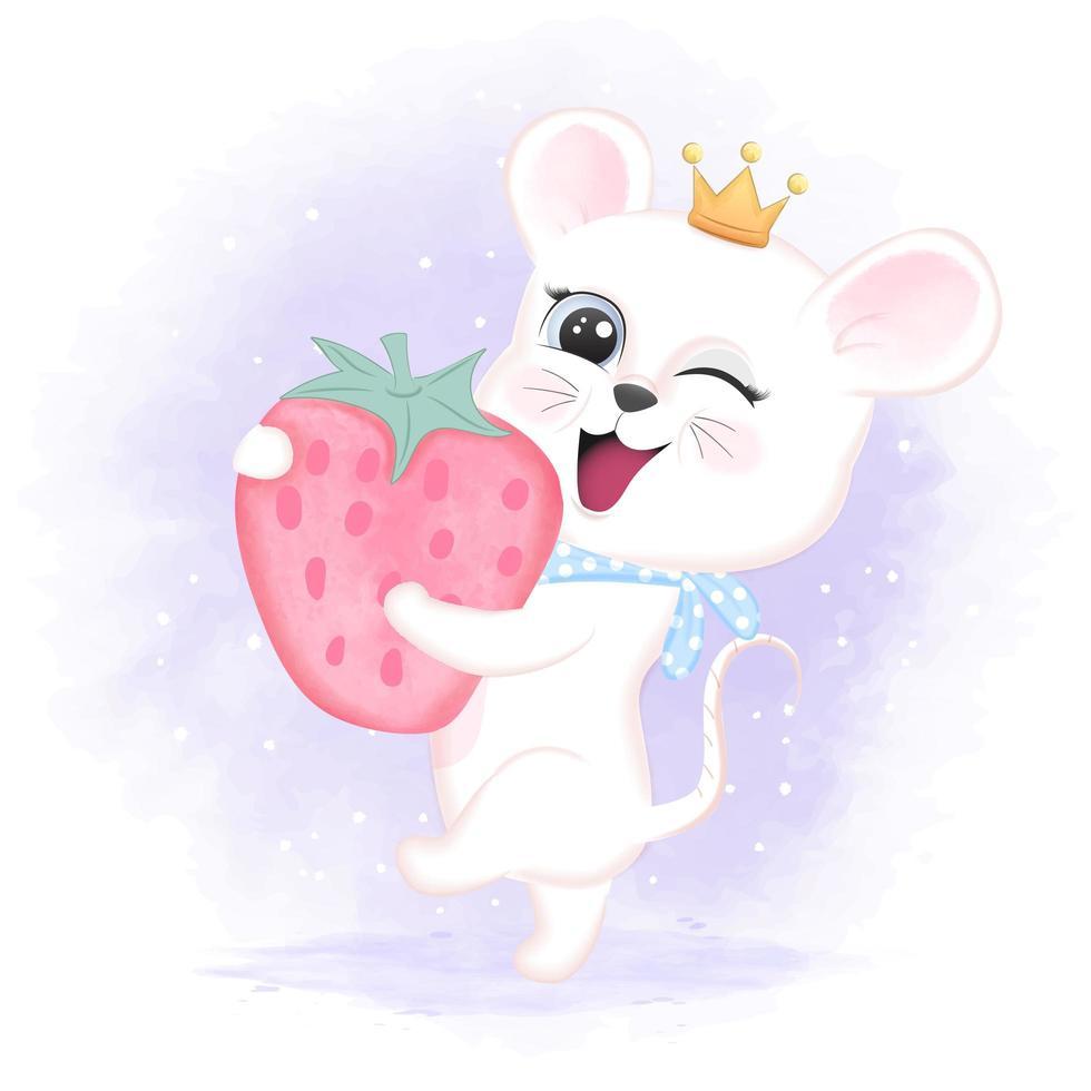 bébé, souris, tenue, fraise, dans, style aquarelle vecteur