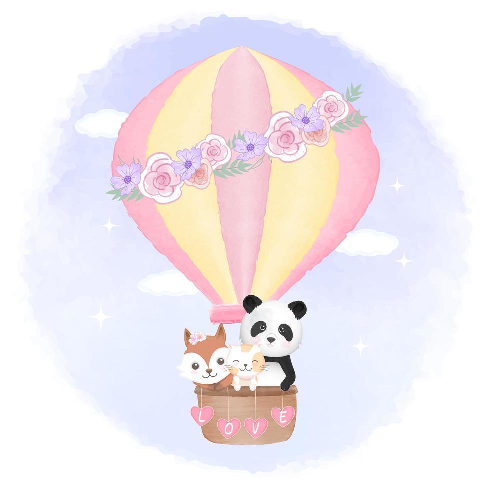 renard, chat, panda flottant en montgolfière vecteur