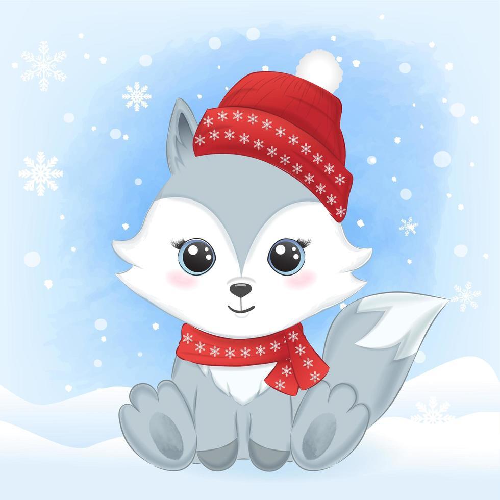 bébé renard avec écharpe et chapeau dans la neige vecteur