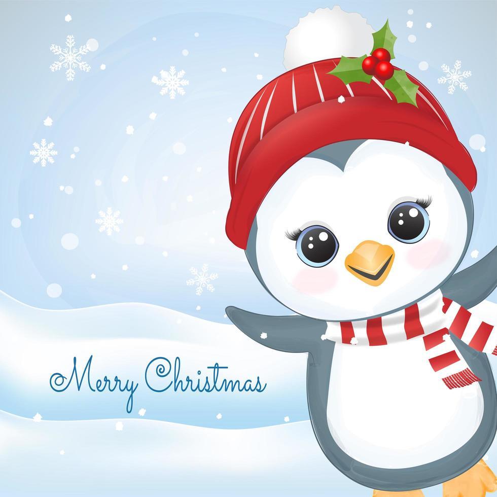 pingouin de noël et flocon de neige en scène d'hiver vecteur