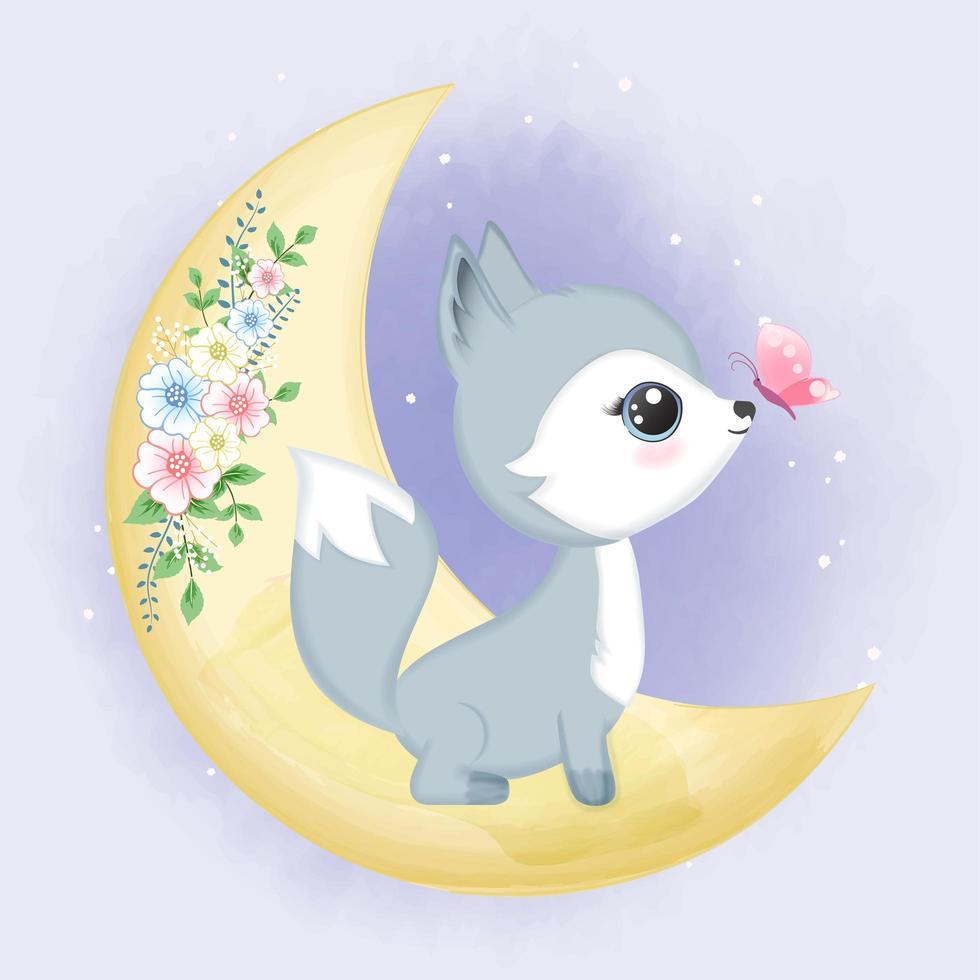 bébé renard sur lune florale avec papillon vecteur