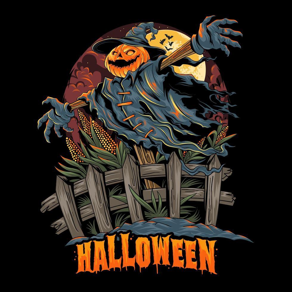 conception d'épouvantail à tête de citrouille d'halloween vecteur