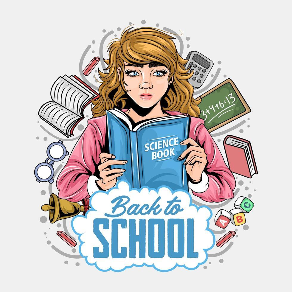 retour à la conception de l & # 39; école avec fille tenant un livre vecteur