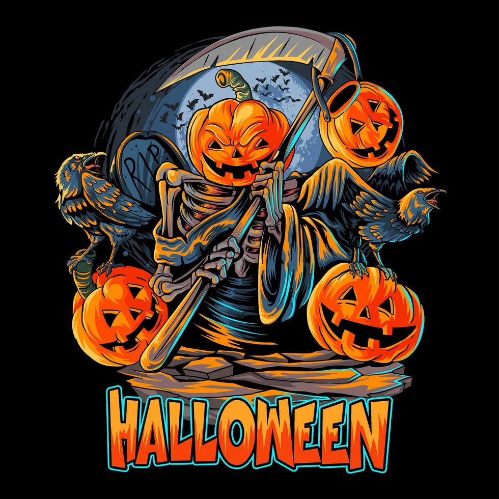 conception de tête de citrouille halloween ange de la mort vecteur