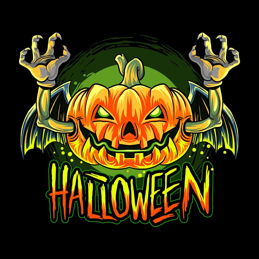 conception de tête de citrouille halloween chauve-souris vampire vecteur