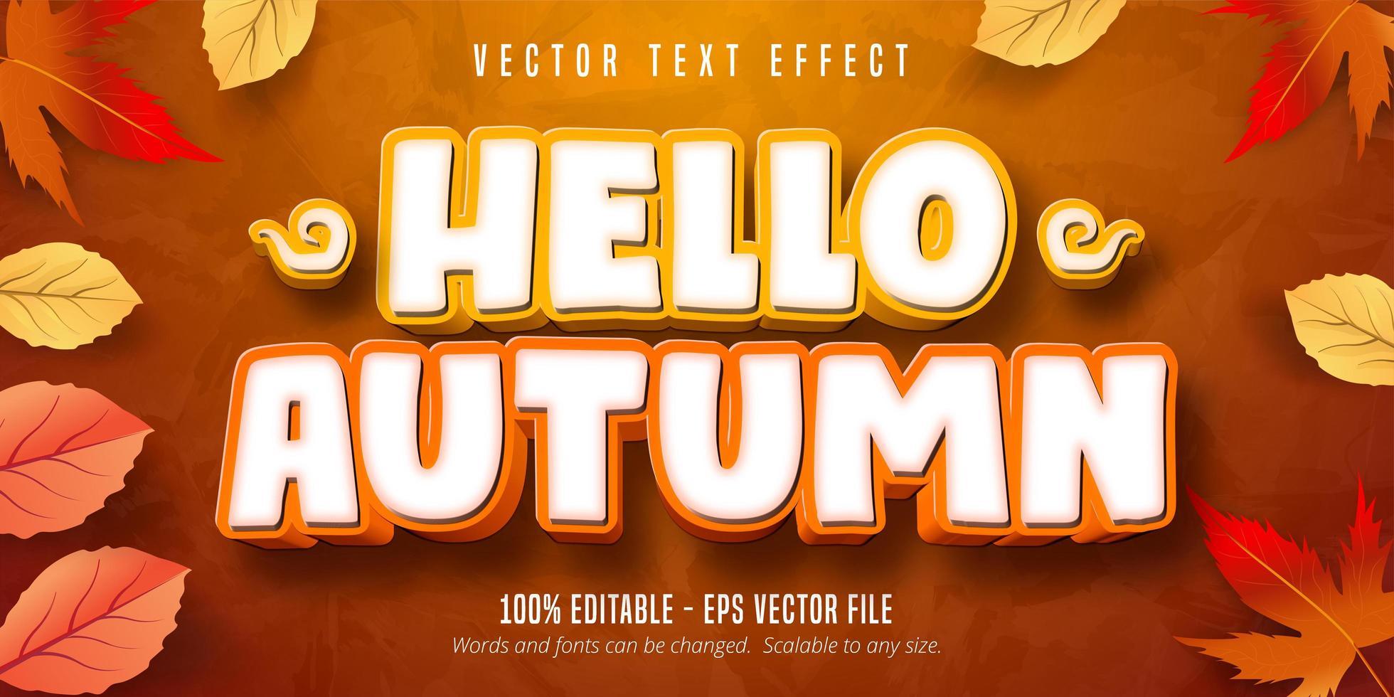 bonjour effet de texte modifiable automne vecteur