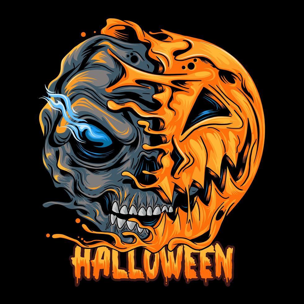 conception de demi-crâne demi-citrouille halloween vecteur