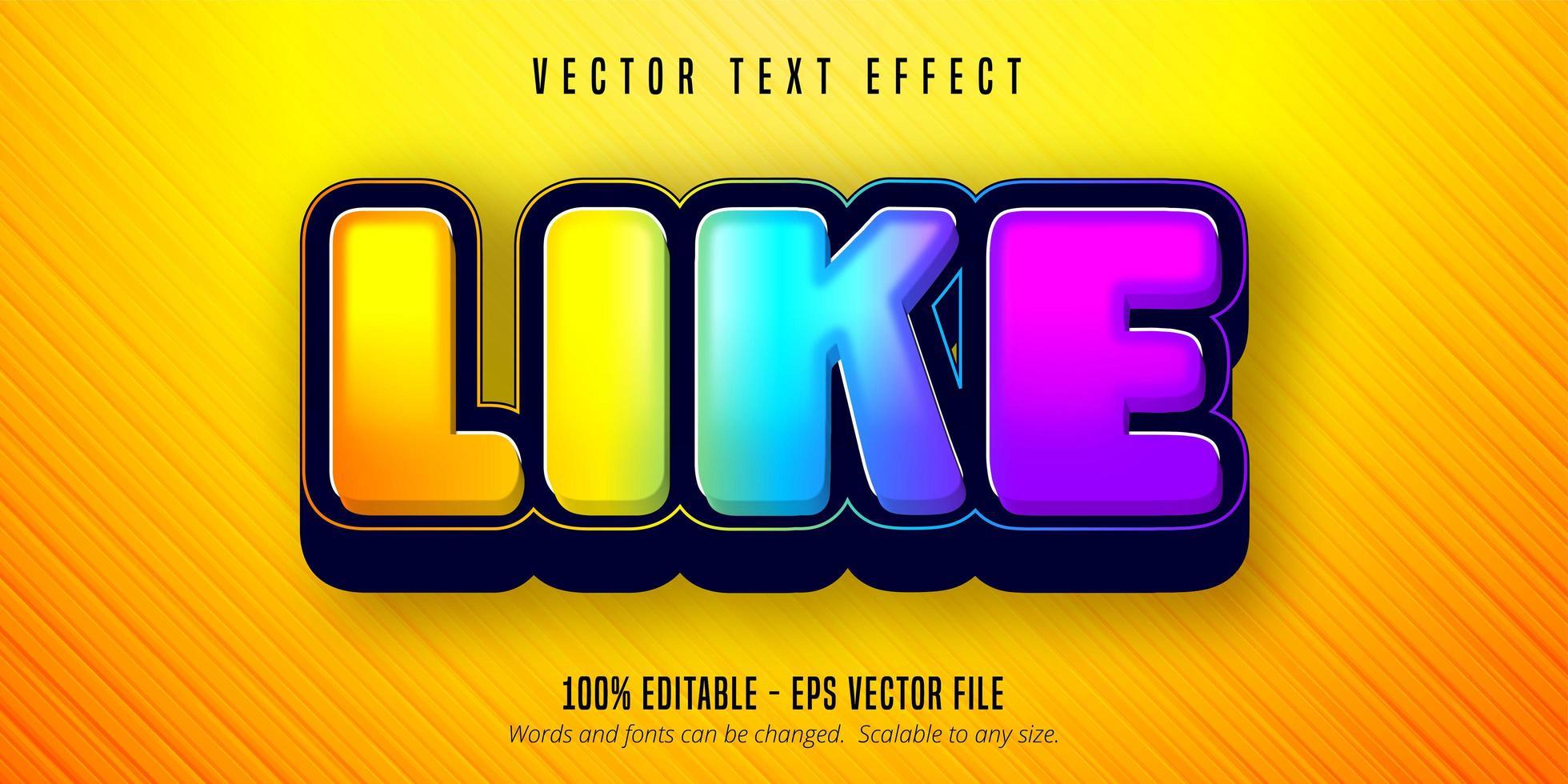 comme le texte, effet de texte modifiable coloré brillant vecteur
