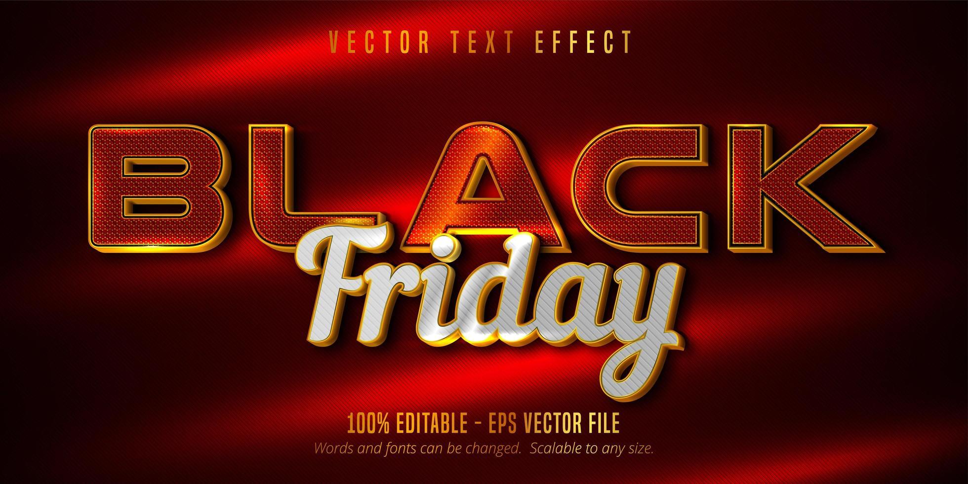 texte de vendredi noir, effet de texte modifiable doré de luxe vecteur