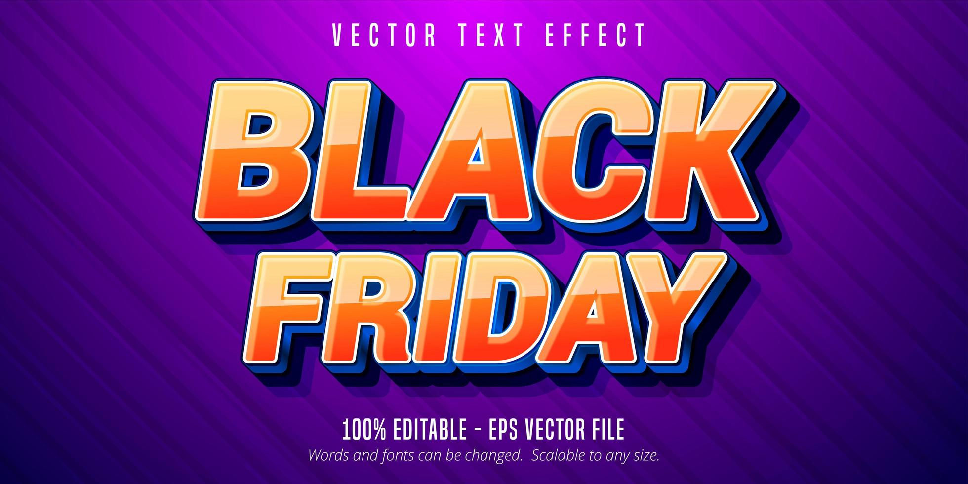 effet de texte modifiable de style dessin animé vendredi noir vecteur