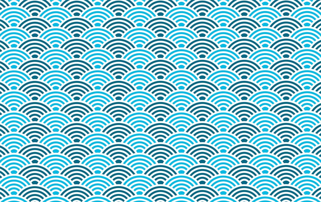 motif de forme de vague circulaire bleue vecteur