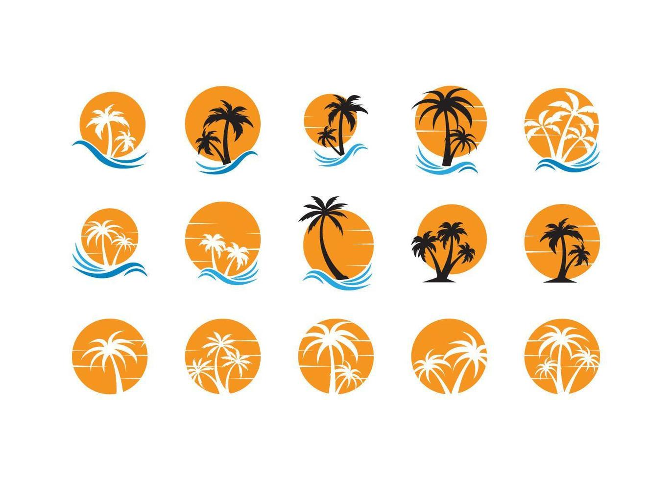 ensemble de logo icône palmier vecteur
