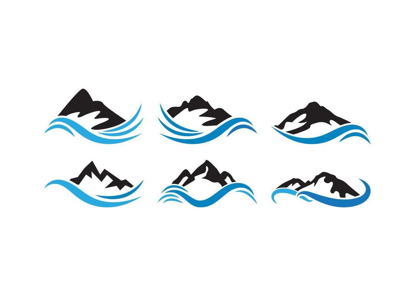 jeu d'icônes de vague de montagne vecteur