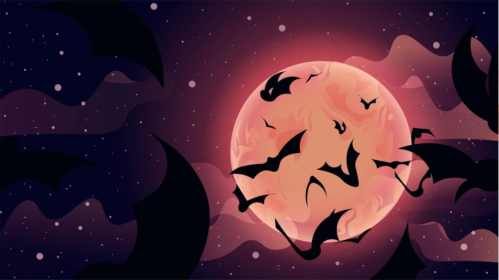 chauves-souris volant jusqu'à la scène de la lune du ciel vecteur