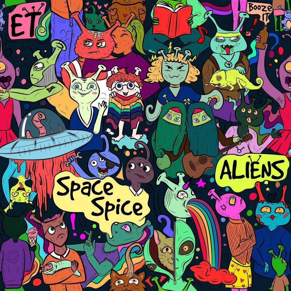 art de rue coloré conceptuel diversité extraterrestre vecteur