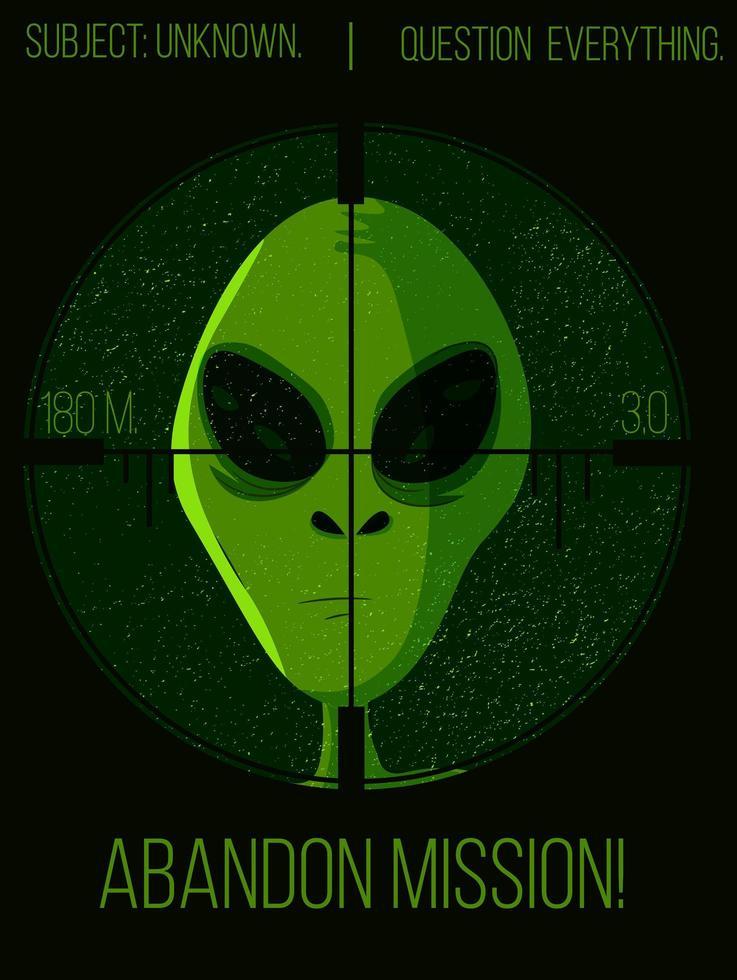 tête extraterrestre verte sous une affiche de tireur d'élite vecteur