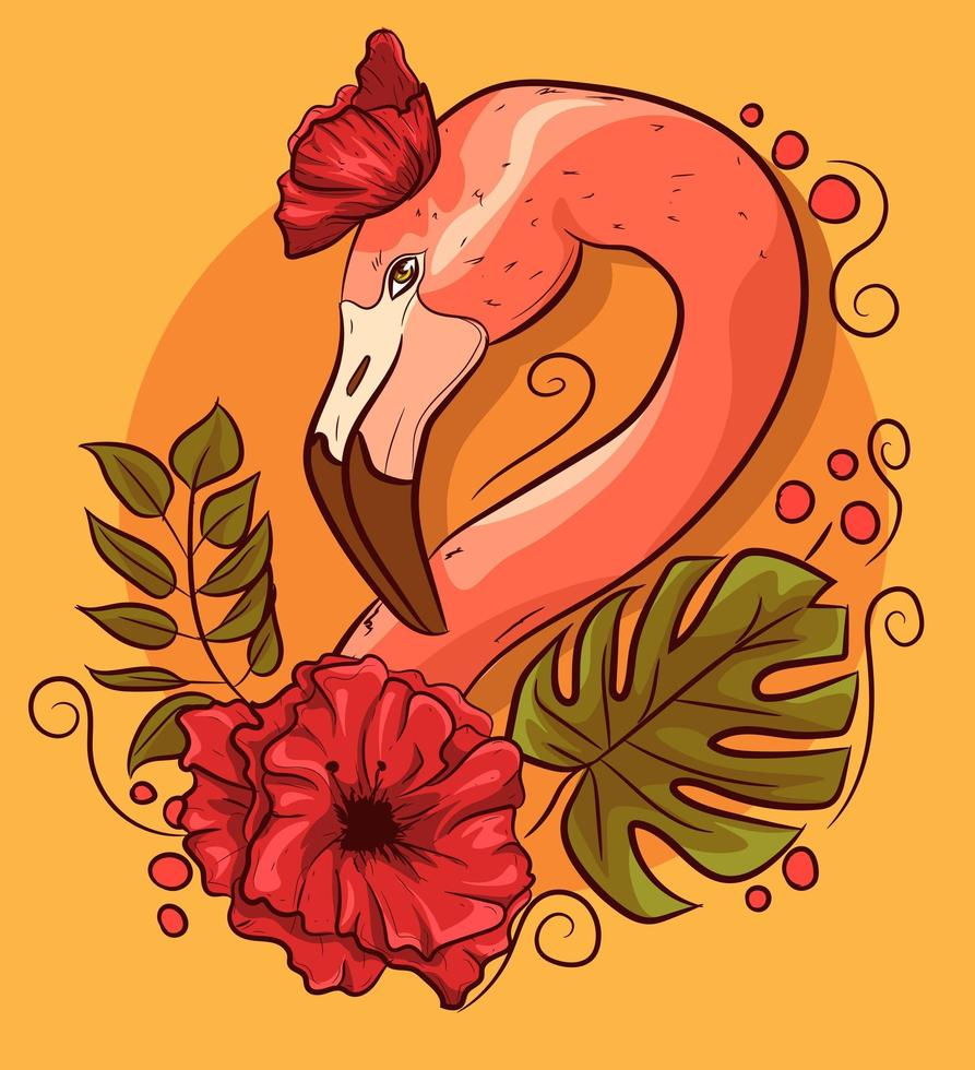 tête de flamant rose avec des coquelicots et des feuilles de monstera vecteur
