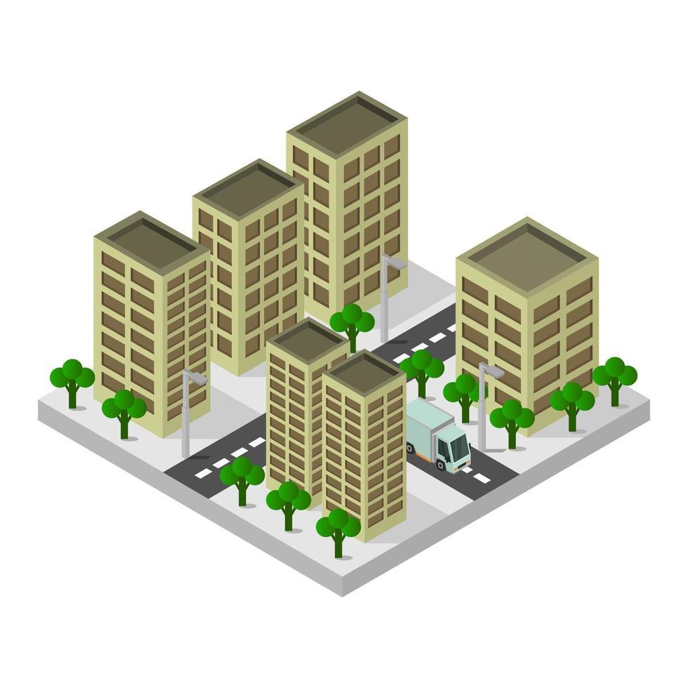 bâtiments de la ville isométrique sur fond blanc vecteur