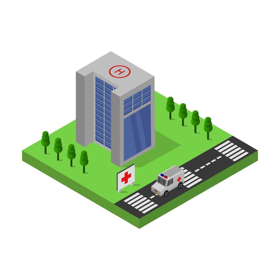 conception de bâtiment d'hôpital isométrique vecteur