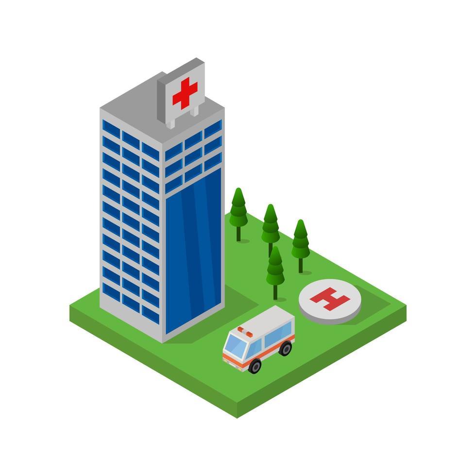 conception d'hôpital isométrique vecteur
