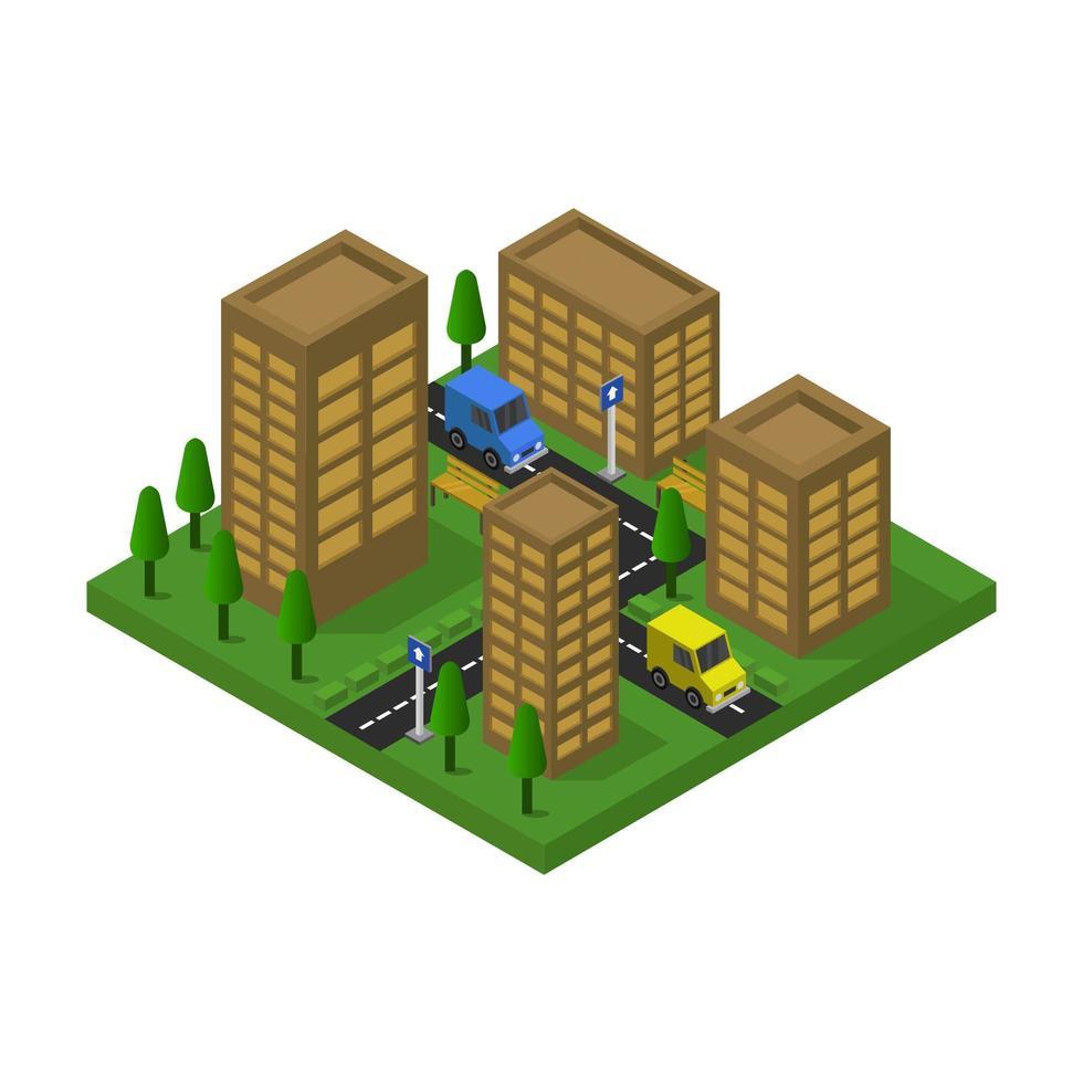 conception de bâtiments bruns de ville isométrique vecteur