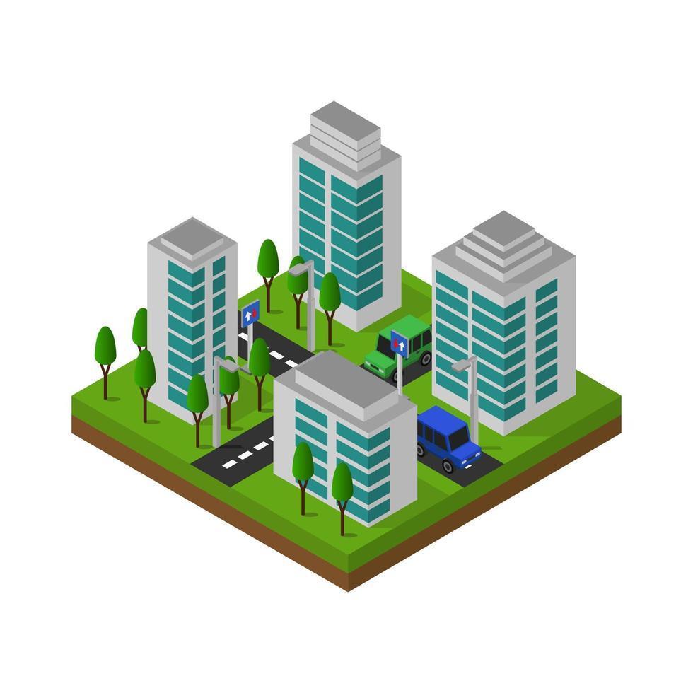 conception de la ville isométrique vecteur
