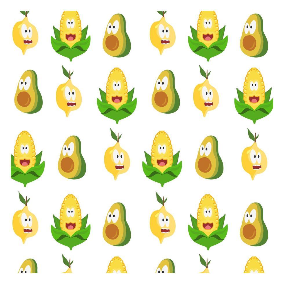 motif de dessin animé de fruits et légumes vecteur