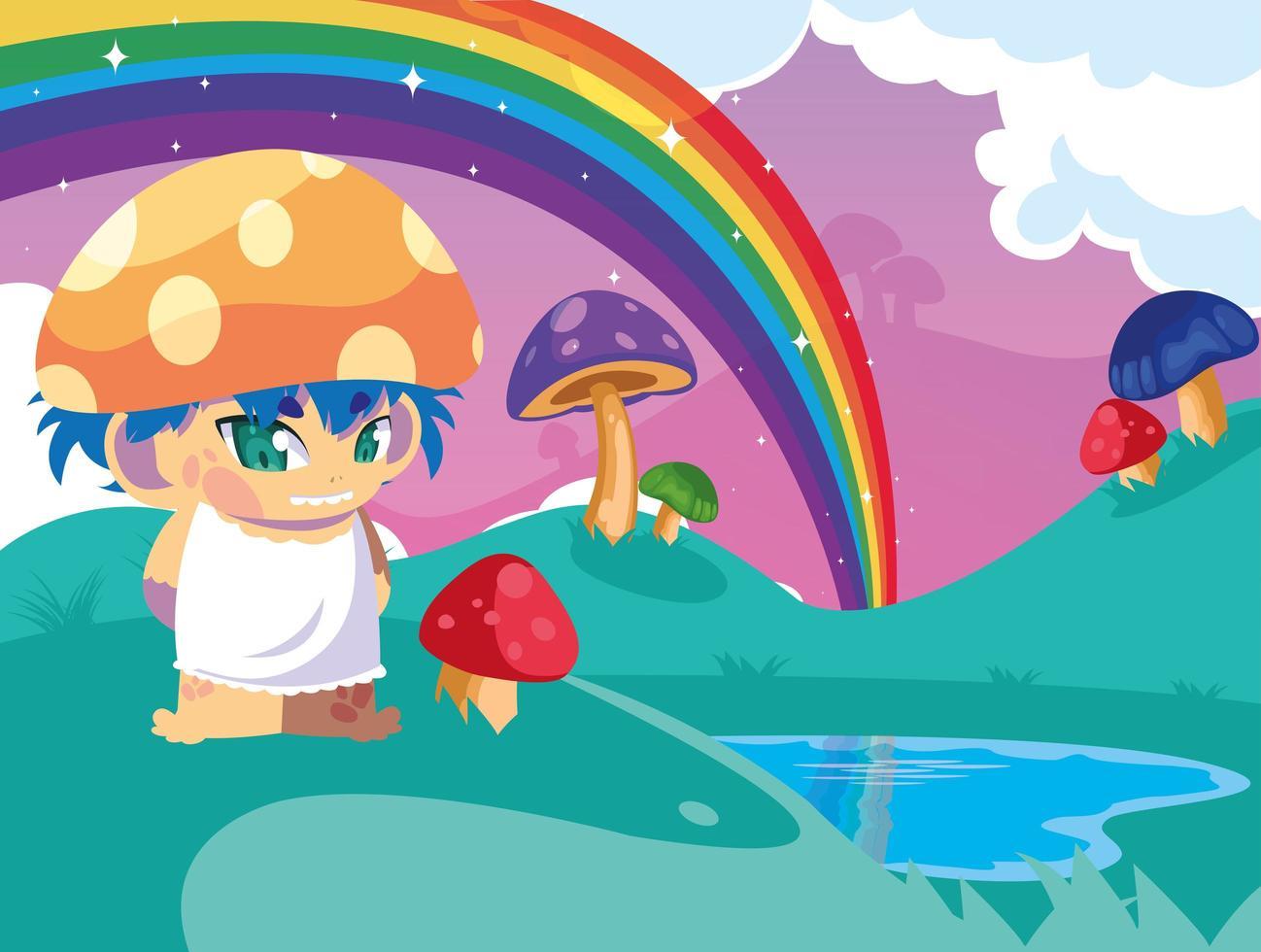conte de fées petit champignon dans un paysage fantastique avec lac vecteur