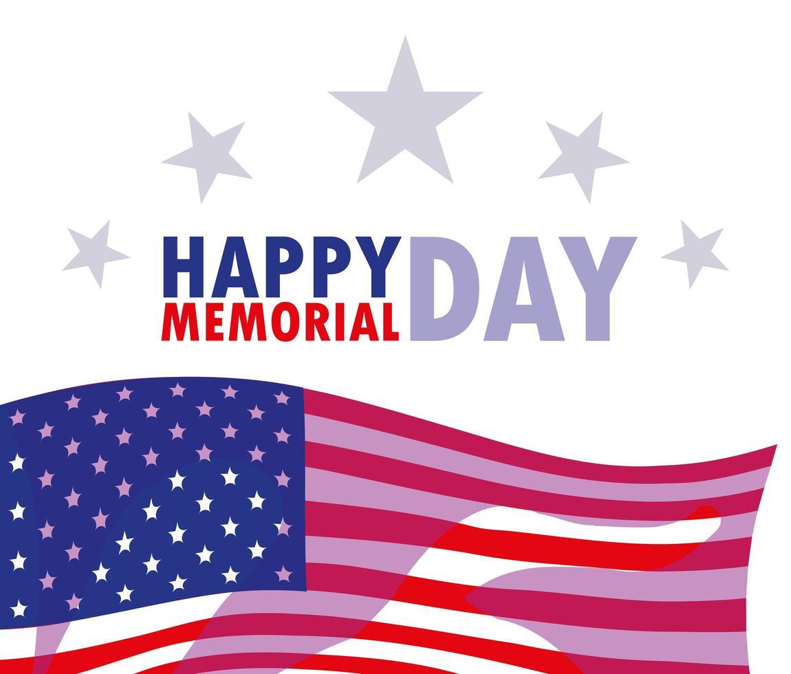 joyeux jour commémoratif avec drapeau usa vecteur