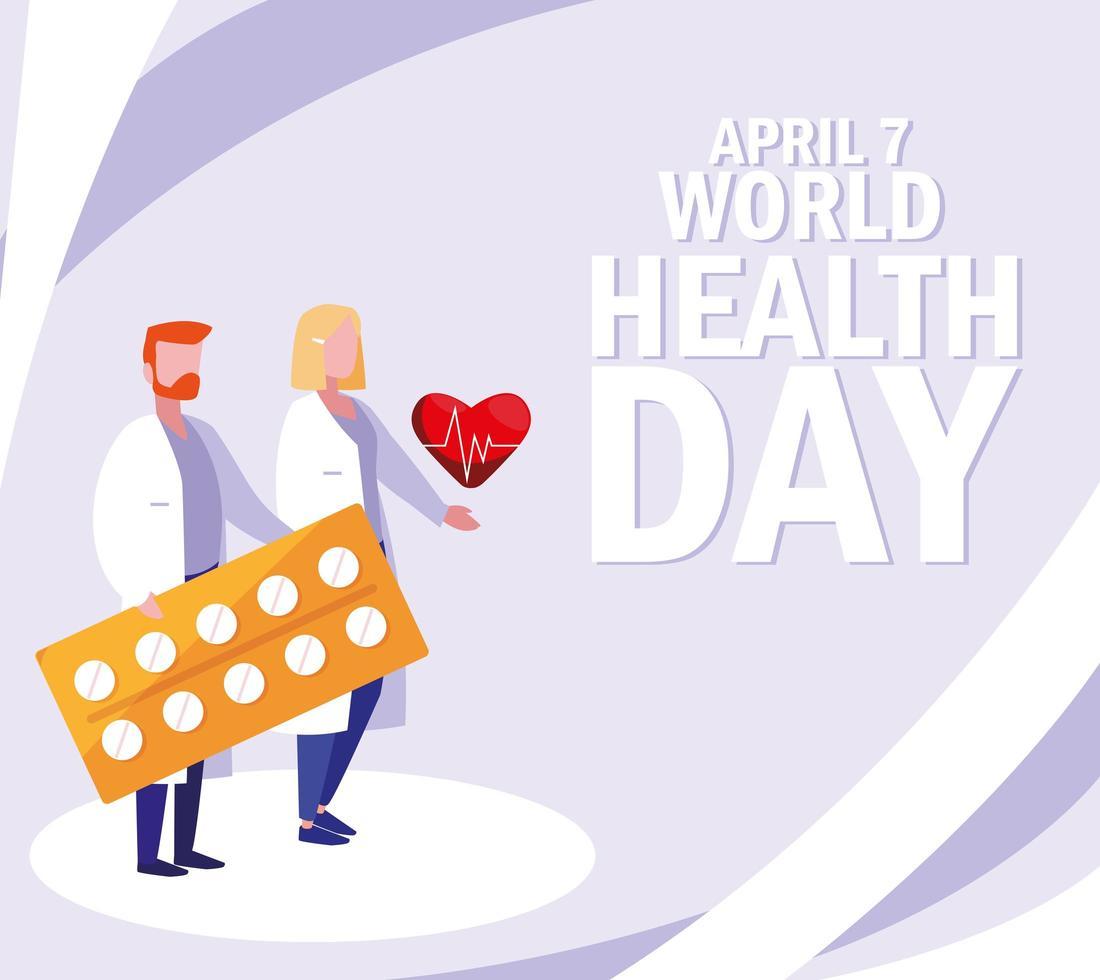 affiche de la journée mondiale de la santé avec des médecins transportant des médicaments vecteur