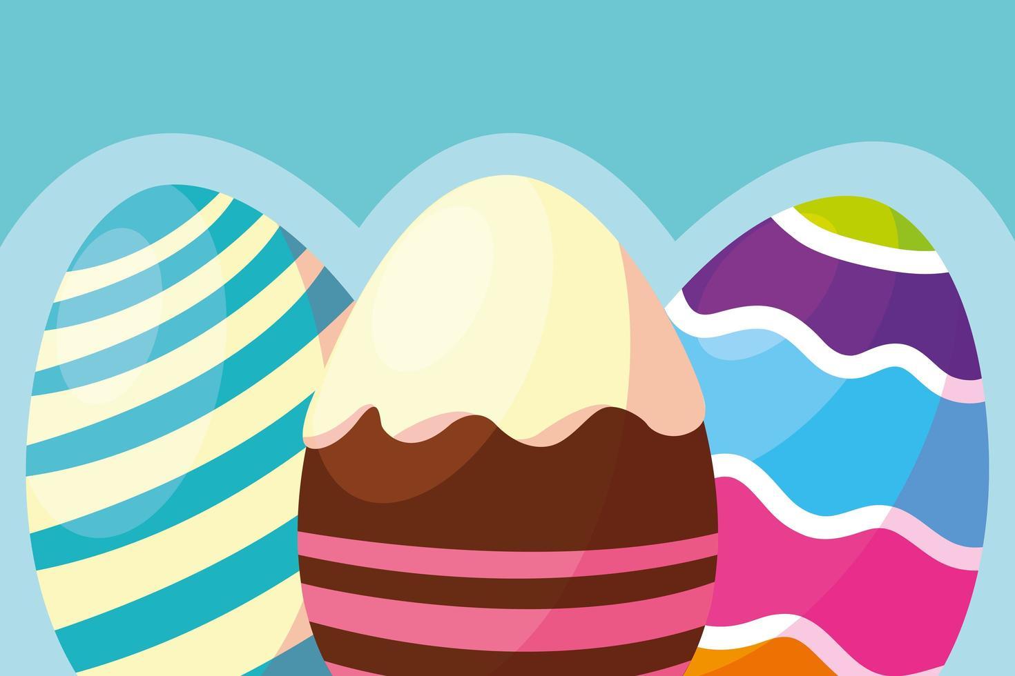 dessins colorés d'oeufs de Pâques décorés vecteur
