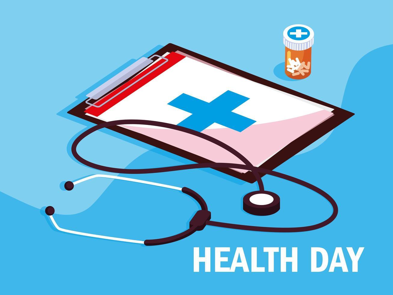 carte de la journée mondiale de la santé avec presse-papiers vecteur