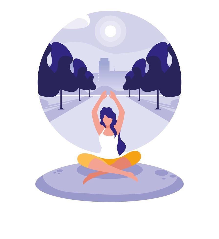 femme pratiquant le yoga en plein air vecteur